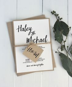 Rustic wedding invitation. Kraft wedding invitation
