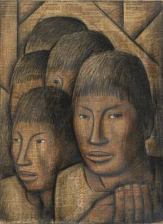 ALFREDO RAMOS MARTÍNEZ (1871-1946) LOS HERMANOS signed upper right tempera and conté crayon on newsprint (The New York Times, Sunday, April 11, 1937) glued to board 24 by 20 in. 61 by 50.8 cm Executed circa 1937.
