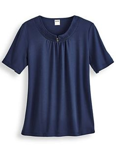 Charlotte Top - <p> 	Sweet pleats at the neckline, set off by soft shirring. Decorative bronzed buttons. Approx. 27