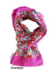Foulard liberty betsy grenadine et fuchsia à pois : Echarpe, foulard, cravate par crocmyys