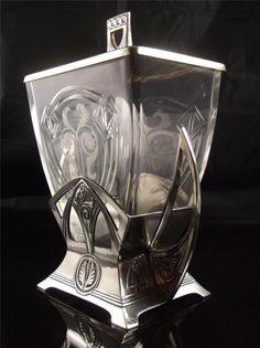 SILVER PLATE CUT GLASS WMF BISCUIT/CRACKER JAR | eBay