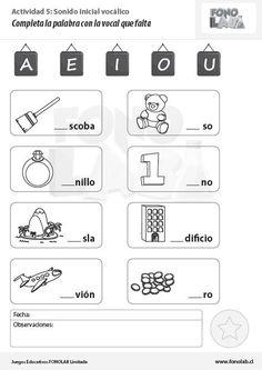 TAREAS IMPRIMIBLES CONCIENCIA FONOLÓGICA  Descarga gratis estas tareas de Fonolab para trabajar la conciencia fonológica.