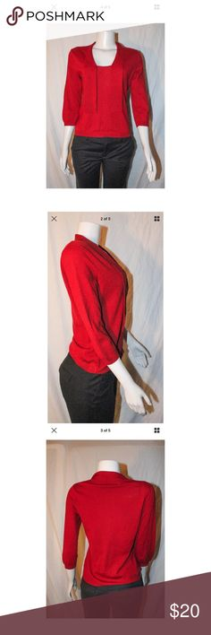 Banana Republic Red Blouse Italian Merino Wool S ***All best reasonable offers accepted!***Black pants in photographs are for display purposes only and are not included in the sale.  Details: This top is super cute, and perfect for colder days! It can be worn casually or to the office.Materials and Care Instructions:100% Merion WoolMeasurementsLength: 23 Inches (Bottom of neck to bottom of shirt)Bust: 34 Inches (Across the torso armpit to armpit doubled) Sleeve:17 Inches…