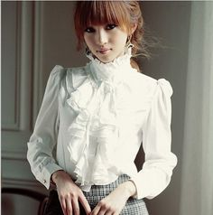2012 New Arrival Women Long-sleeve Shirt White Vintage Royal Stand Collar OL Lady Top Casual Blouse