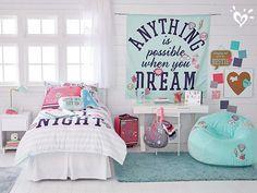 Wall-to-wall varsity spirit. Teenage Girl Bedroom Designs, Teen Girl Bedrooms, Bedroom Wall, Bedroom Decor, Bedroom Ideas, Bedroom Turquoise, Dream Rooms, My New Room, Girl Room