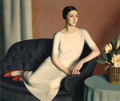 Meredith Frampton (England 1894-1984) 'Marguerite Kelsey', 1928. Collection Tate Modern, London. Frampton later said that he painted that picture as 'a relaxation from commissions, and to celebrate an assembly of objects… beautiful in their own right'. The sitter was Margaret Austin-Jones, then aged 23. Her dress was made up from a Vogue pattern by Frampton's mother.