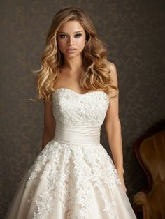 Ivory Tulle Lace Floral Applique Strapless Empire Waist Wedding Dress by Long Wedding Dress