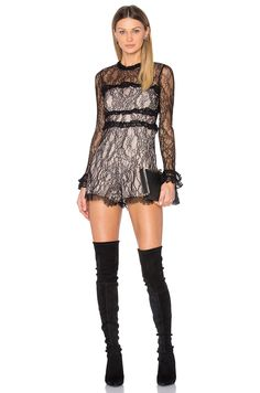 Alexis Elise Romper in Black Lace