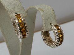 Vintage Ohrhänger - Creolen Ohrringe 925 Silber gelbe Kristalle SO162 - ein Designerstück von Atelier-Regina bei DaWanda