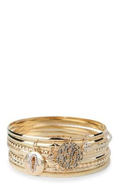 Deb Shops Set of 9 Metal Bangles with Peace and Palms Charms $11.00