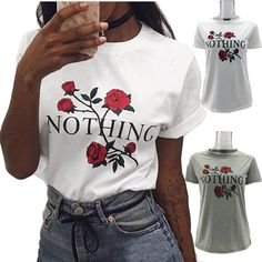 >> Click to Buy << Europe and the United States street couture ins web celebrity with nothing printed letters T the roses #Affiliate