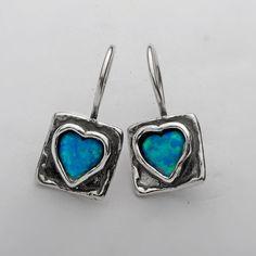 Designer Earrings Hoop 6mm Heart Cabs Opal Jewelry Vintage 100% Solid Fashion for Women