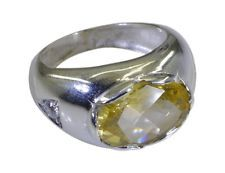 Citrine 925 sterling silver excellent jaipur Ring Yellow L-1.2in UK KMOQ