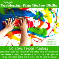#Developing #FineMotor #Skills: Do some finger #painting. Using finger paint can #strengthen your #child's hand-eye #coordination and manual #dexterity. All you need is an #easel or a thick piece of paper, some finger paints and a space—like the #yard or #garage—where your #child can get #messy. #fun #play #freeplay #letthembelittle #arts #Cincinnati #OH #Ohio #addressthecause #brainbalance  #afterschoolprogram