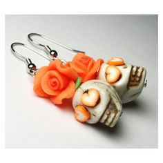 Sugar Skull Earrings Day of the Dead Orange Flower Heart Eyes Cute... ❤ liked on Polyvore featuring jewelry, earrings, skull jewelry, flower jewelry, flower earrings, skull earrings and blossom jewelry