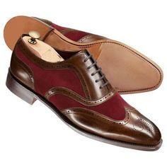 Handmade Men brown and Burgundy wing tip shoes, Men two tone formal shoes #Handmade #WingTip #Formal