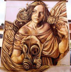Huge chalk mural by @verabugatti