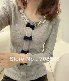 Ladylike Round Neck Bead and Bowknot Embellished Long Sleeve Slimming Cotton Blend Blouse For Women Diy Fashion, Ideias Fashion, Fashion Women, Asian Fashion, Style Fashion, Spring Fashion, Fashion Design, Diy Clothes, Clothes For Women