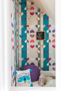 A Colorful and Cheerful Space for the Entire Family by Joy Street Design | Rue Office Items, Under Stairs, Colorful Wallpaper, Farrow Ball, Painting Cabinets, Life Savers, Kid Spaces, Built Ins, Family Room