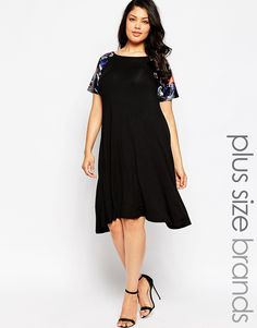 Club+L+Plus+Size+Swing+Dress+With+PU+Floral+Print+Sleeves
