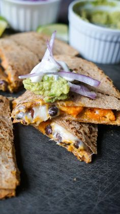 Black Bean and Sweet Potato Quesadillas. Healthy vegetarian quesadillas jam packed with so much flavor! #eatclean #healthy