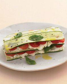 zucchini lasagna with farmer cheese.