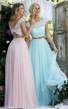 two piece pastel bridesmaids dresses