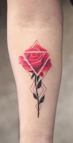 geometric rose tattoo © trudy lines