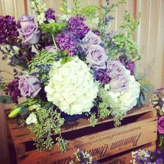 rustic wedding flowers | rustic purple centerpiece | wooden crate with flowers | country wedding flowers love