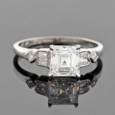 Retro GIA Certified 1.39 Carat Square Emerald Cut Diamond Engagement Ring 2