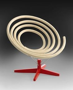 Chaise spirale | Chaise design | Chaise unique et incroyable | Rouge & blanc | Spiral