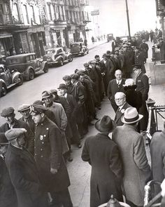 """Depression Employment Line"" NYC (1930) No Difference from Back Then Till The Present Day Just a Different Determined Government To Bankrupt US Again Left Out In The Cold To Starve US and Our Children"