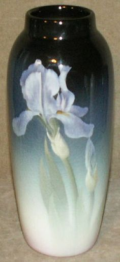 ~Rookwood~Artist: Kataro Shirayamadani~Circa 1885-1905~White Large Iris On Front And Back-Iris Glazed Vase~