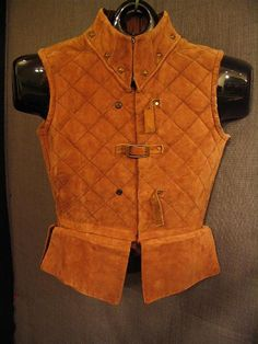 09022882 Doublet Child's Medieval, quilted brown suede, C33.JPG