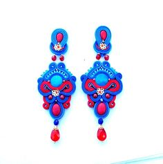 Unique Colorful Long Soutache Earrings - Long Clip On Earrings - Multicolor…