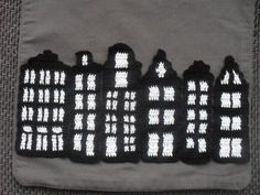 """Six hand crocheted canal houses for """"Amsterdam"""" cushion, Crochet applicatie by BlageCrochetDesign €24.00"""