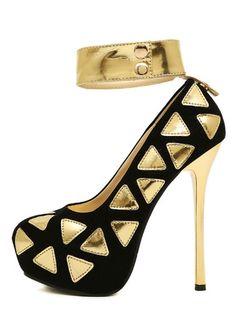 f1aefb5b5 Elegant Black Stiletto High Heels Ankle Strap Pumps