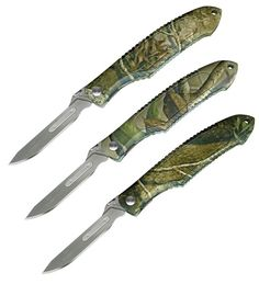 """Piranta Camo"" Skinning Knife with Easy Grip Ridges along the top and bottom of the handle. If you need a lightweight hunting knife for the tough job of skinning big game, you can trust the Piranta-Camo. It's easier to use in field dressing and skinning, especially when things get a bit slippery. No two Piranta-Camo knives will be the same! Due to the camo wrapping process each Piranta-Camo will be unique."