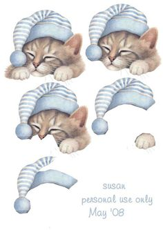 Sleepy little kitty Christmas Decoupage, 3d Christmas, 3d Cards, Paper Cards, 3d Templates, Foto 3d, Deco Stickers, Decoupage Printables, 3d Sheets