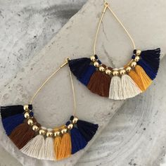 Boho bohemian fringe earrings tassel earrings embroideryblue