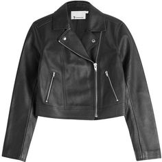 T by Alexander Wang Cropped Leather Biker Jacket ($1,339) ❤ liked on Polyvore featuring outerwear, jackets, coats & jackets, black, leather jackets, leather motorcycle jacket, motorcycle jacket, real leather jackets and slim fit jackets