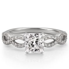 cushion cut palladium infinity engagement ring with moissanite stone from Do Amore (ethically sourced)