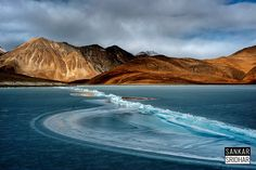the line-break - the frozen Pangong Tso