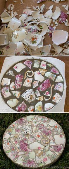 Broken China Stepping Stones Easy DIY Video Tutorial #diygarten Broken China Mosaic Garden Stones | The WHOot