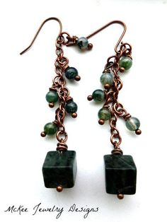 Long dangle green gemstone and copper earrings, boho, simple, modern
