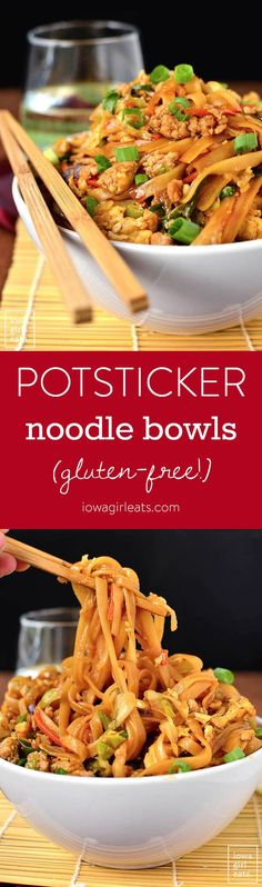 Potsticker Noodles Bowls are a gluten-free take out fake out recipe that tastes just like potstickers! Prep and cook in under 30 minutes. | iowagirleats.com