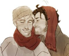 Artwork of Aidan Turner (Kili) and Dean O'Gorman (Fili)