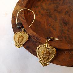 Flaming heart earrings, religious jewellery, Jesus Christ, vintage earrings, vintage metal, brass hearts, garnet earrings, sterling silver by Graciedot2Treasures on Etsy