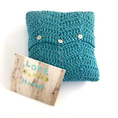 Cozy Comforts Pillow cover Crochet Pattern is quick and easy with an buttoned envelope back.