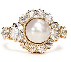 Edwardian pearl and diamond ring. http://www.annabelchaffer.com/